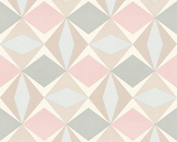 Non-Woven Wallpaper check graphic beige rose 95766-4