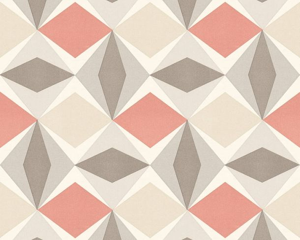 Non-Woven Wallpaper check graphic red grey 95766-6 online kaufen
