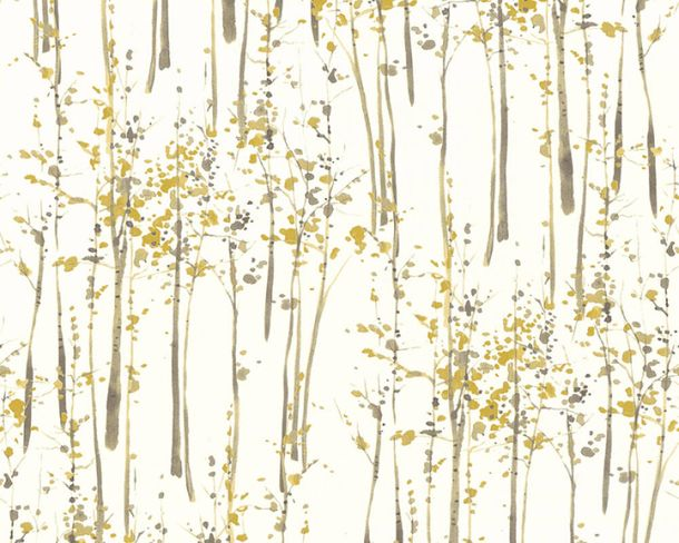 Non-Woven Wallpaper trees aquarell white brown 95786-2 online kaufen
