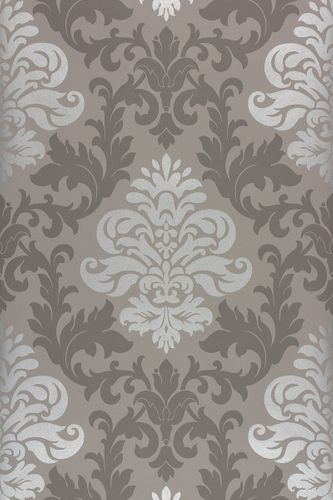 Wallpaper Baroque Ornaments Rasch Glossy brown 156645
