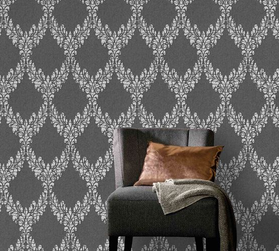 Vliestapete Barock Ornament schwarz silber Glanz 5812-47 online kaufen