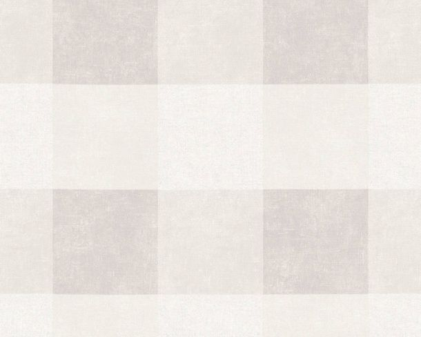 Non-Woven Wallpaper Checked light grey white 36715-1