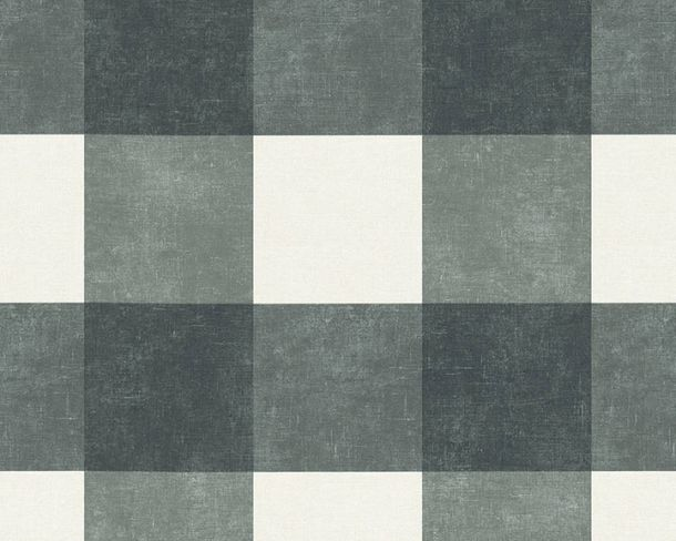 Non-Woven Wallpaper Checked anthracite grey 36715-4 online kaufen