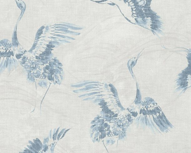 Non-woven Wallpaper Crane blue Linen Style 36631-2 online kaufen