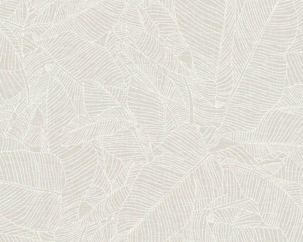 Non-woven Wallpaper Leaves white Linen Style 36633-1