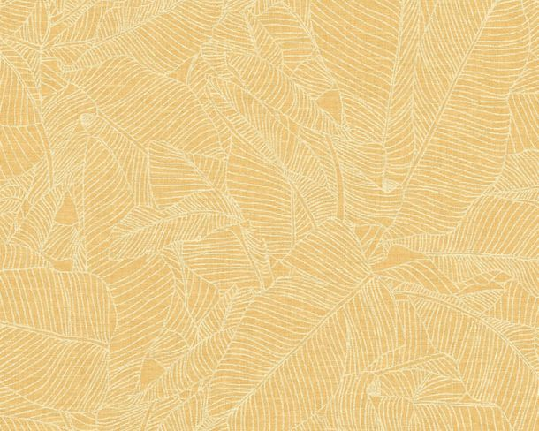 Non-woven Wallpaper Leaves yellow Linen Style 36633-3