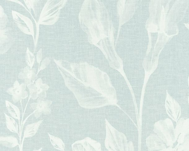 Non-woven Wallpaper Flowers turquoise Linen Style 36636-2 online kaufen