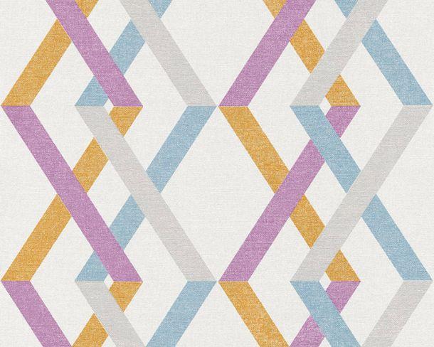 Vliestapete Karo Retro weiß lila Linen Style 36759-1 online kaufen