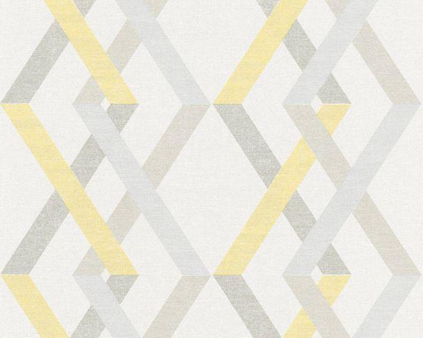 Non-woven Wallpaper Check yellow Linen Style 36759-2 online kaufen