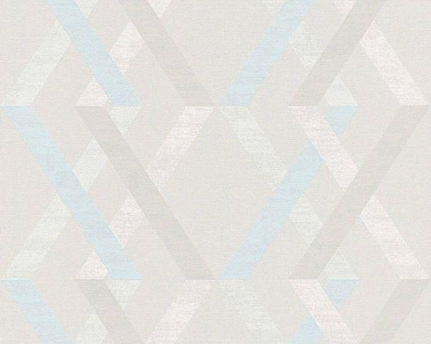 Non-woven Wallpaper Check light grey Linen Style 36759-3