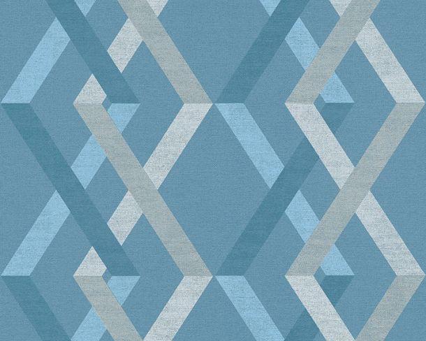 Vliestapete Karo Retro blau weiß Linen Style 36759-4 online kaufen
