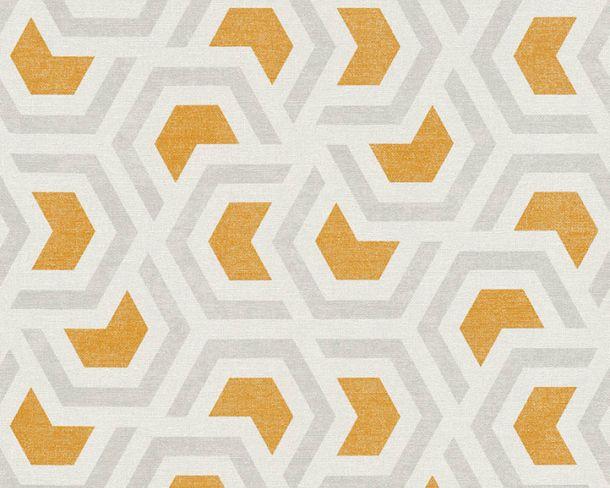 Vliestapete Grafik Waben weiß orange Linen Style 36760-2 online kaufen
