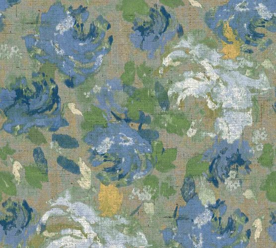 Non-Woven Wallpaper Flowers Floral beige blue 36772-7