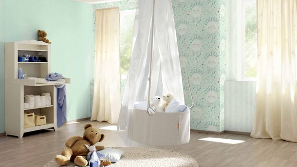 Kid's Wallpaper Plain Plaster mint green Rasch 247107 online kaufen