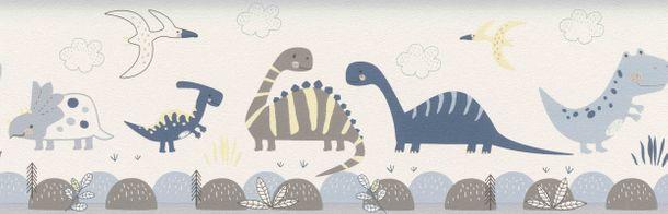 Kinderborte Dinosaurier Natur weiß blau Rasch 248869 online kaufen