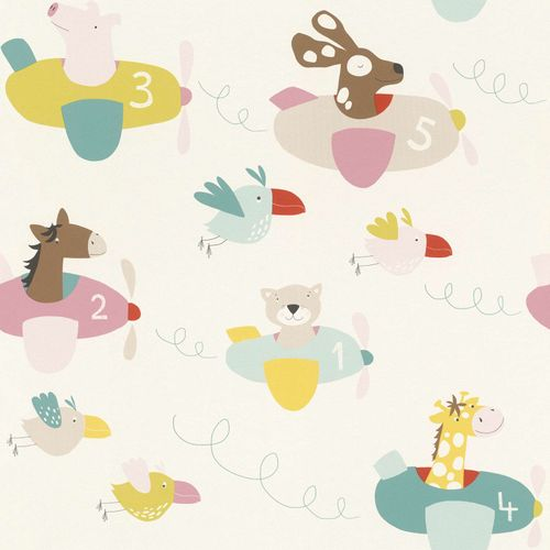 Kids Wallpaper animals plain white colourful Rasch 249064 online kaufen