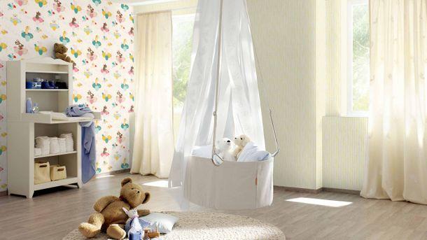 Kindertapete Dreieck Streifen weiß gelb Rasch 249156 online kaufen