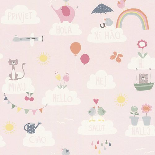 Kids Wallpaper animals hello clouds rose Rasch 249453