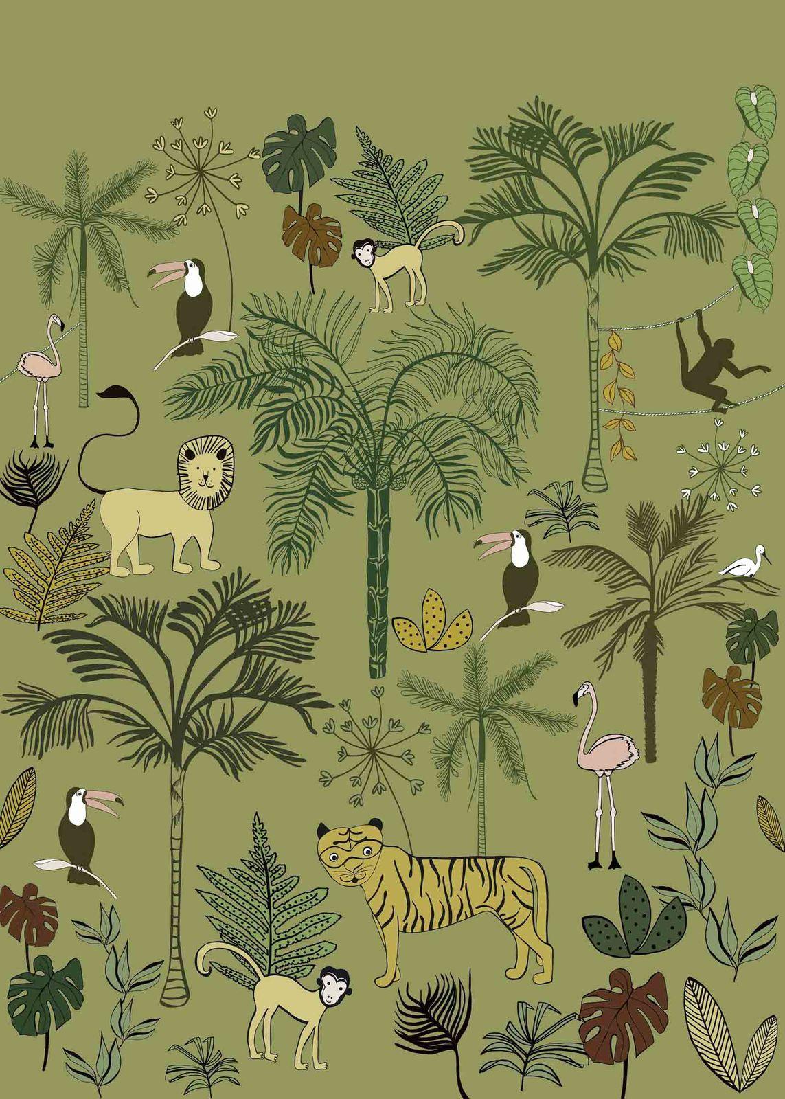 Kids Mural Wallpaper Animals Jungle Yellow Rasch 842142