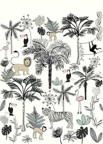 Kids Mural Wallpaper animals jungle blue Rasch 842173 online kaufen