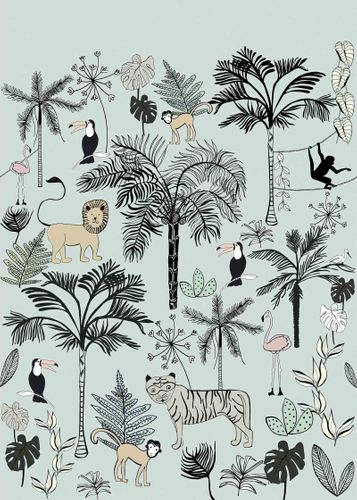 Kids Mural Wallpaper animals jungle blue Rasch 842197 online kaufen