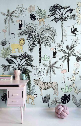 Kids Mural Wallpaper animals jungle blue Rasch 842197 online kaufen