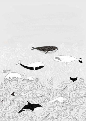 Kids Mural Wallpaper whales waves grey black Rasch 842531