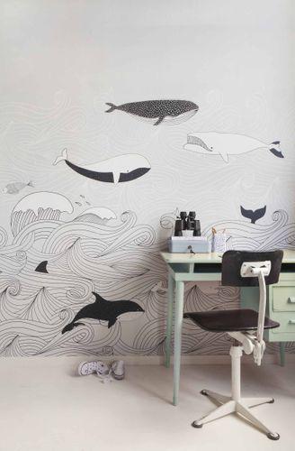 Kids Mural Wallpaper whales waves grey black Rasch 842531 online kaufen