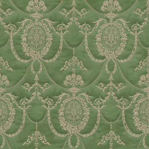 Satin Wallpaper Rasch Ornament green Gloss 532142
