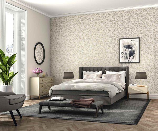 Satin Wallpaper Rasch Floral cream grey Gloss 532449 online kaufen