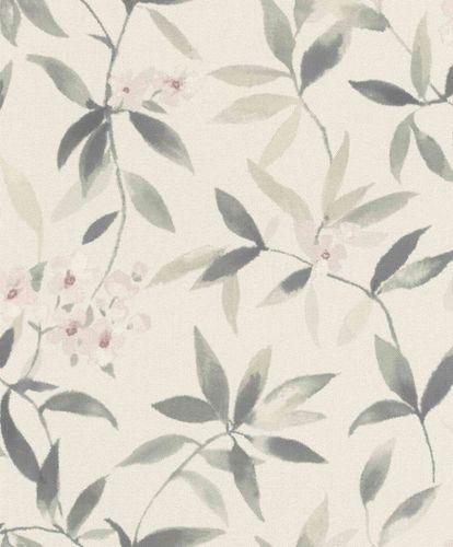 Vliestapete Rasch Floral Textiloptik weiß graugrün 424904 online kaufen
