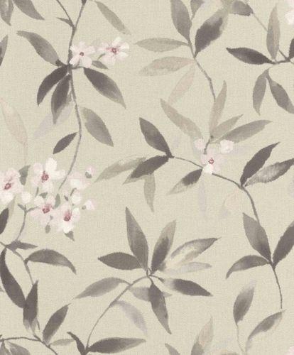 Vliestapete Rasch Floral Textiloptik grüngrau pink 424928 online kaufen