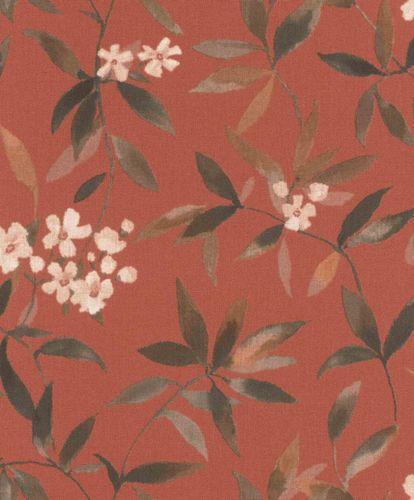 Non-woven Wallpaper Rasch Floral Textile orange 424942 online kaufen