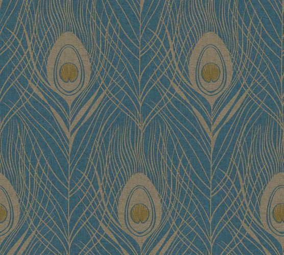 Non-Woven Wallpaper Feathers Peacock dark blue gold Gloss 36971-2