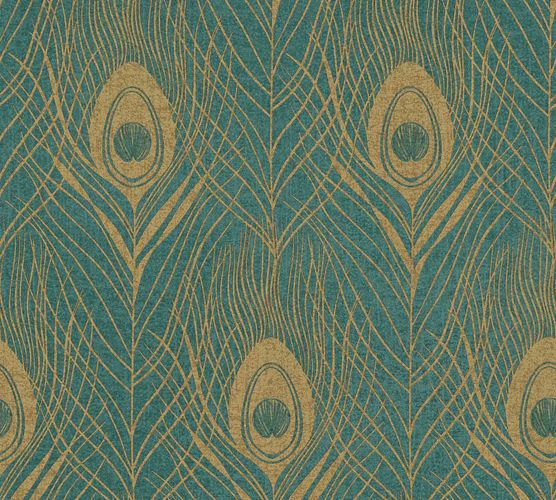 Non-Woven Wallpaper Feathers Peacock turquoise gold Gloss 36971-4