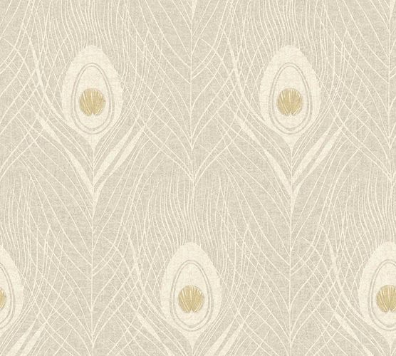 Non-Woven Wallpaper Feathers Peacock cream beige 36971-7