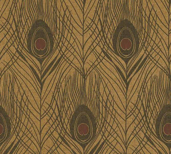 Non-Woven Wallpaper Feathers Peacock gold dark brown 36971-8