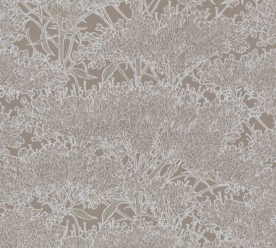 Non-Woven Wallpaper Floral Tree dark brown silver Gloss 36972-1 online kaufen
