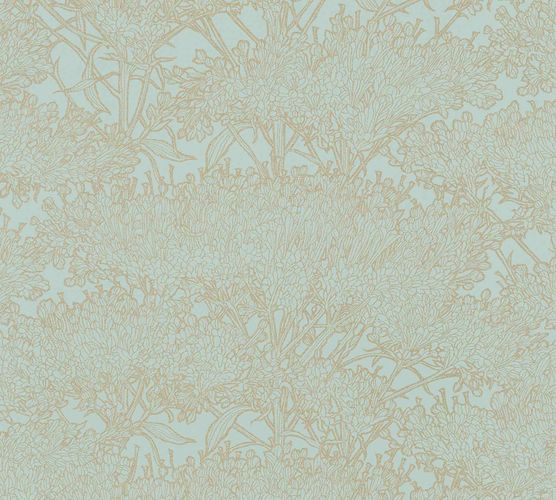 Non-Woven Wallpaper Floral Tree mint gold Gloss 36972-2