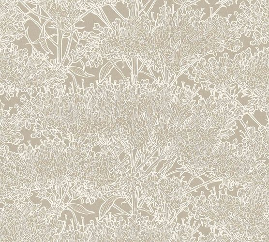 Non-Woven Wallpaper Floral Tree taupe cream Gloss 36972-4