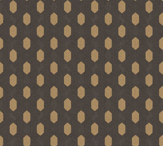 Non-Woven Wallpaper Graphic Rhombus brown gold Gloss 36973-5