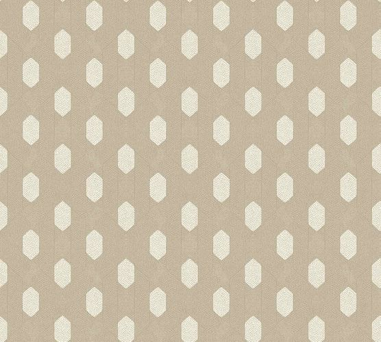 Non-Woven Wallpaper Graphic Rhombus taupe cream Metallic 36973-7