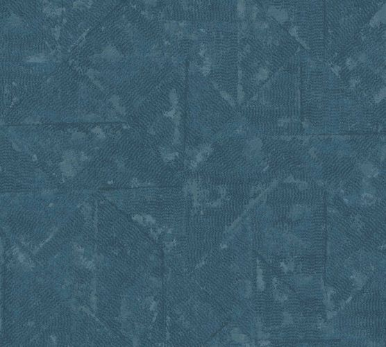 Non-Woven Wallpaper Rhombus Vintage blue grey Metallic 36975-1