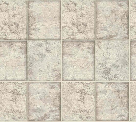 Vinyl Wallpaper Marble Tiles taupe white Metallic 34279-2 online kaufen