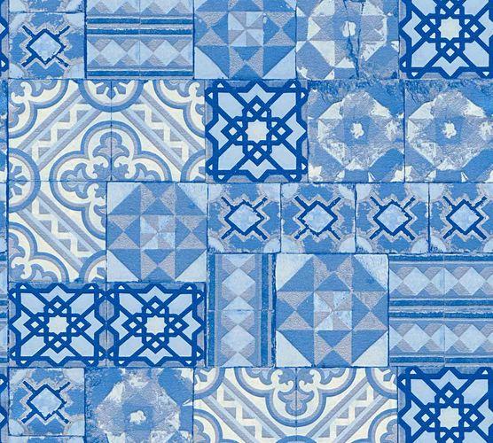 Tapete Marokkanische Kacheln blau silber Metallic 34300-3 online kaufen