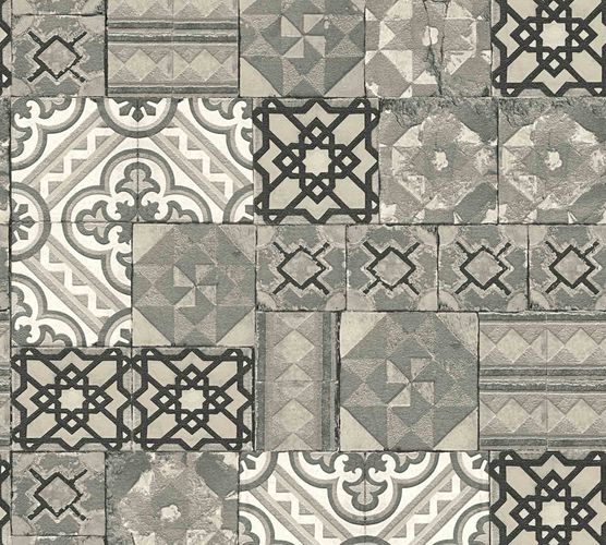 Wallpaper Moroccan Tiles grey silver Metallic 34300-4 online kaufen