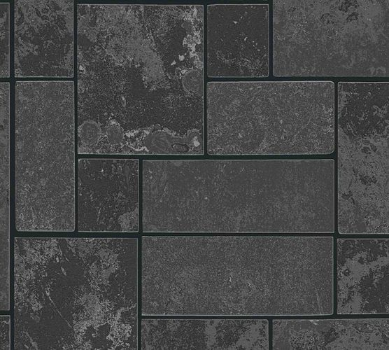 Vinyl Wallpaper Tiles Blocks black silver Glitter 34779-3 online kaufen