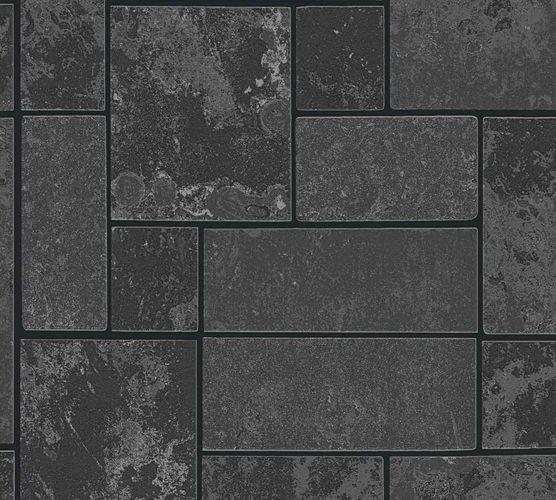 Vinyltapete Kacheln Blöcke schwarz silber Glitzer 34779-3 online kaufen