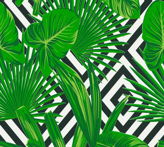 Non-Woven Wallpaper Graphic Leaves green black 36811-2 online kaufen