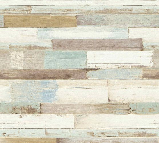 Non-Woven Wallpaper Wood Panel blue brown 36857-1 online kaufen